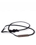 black leather brass bead