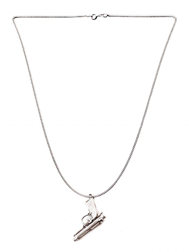 silver necklace gun