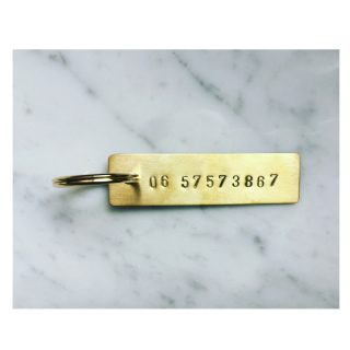Key Ring Phone Number // Brass